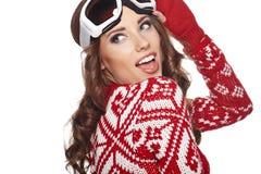 Girl snowboarding Stock Image