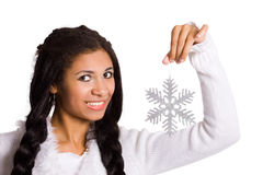 Girl with snowflake Stock Images