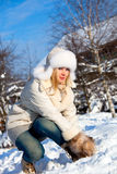 Girl with snowflake Stock Photo