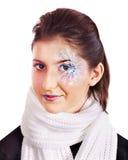 Girl with snowflake make up . Stock Photo