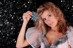 Girl snowflakes Stock Photos