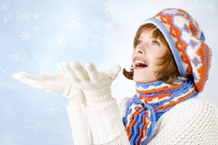 girl with snowflakes Stock Photos