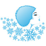 Girl and a snowflakes Royalty Free Stock Image