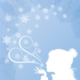 Girl and a snowflakes Royalty Free Stock Photography