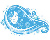 Girl with snowflakes. Ornamental winter girl with snowflakes Royalty Free Stock Photo
