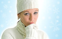 Girl with snowflakes Royalty Free Stock Photos