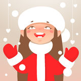 Girl and snowflakes Royalty Free Stock Photo