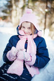 Happy young girl  in the winter forest Stock Photos