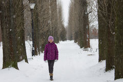 Girl in snowing alley Royalty Free Stock Images