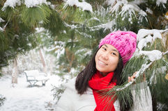 Girl in snowing winter 2 Stock Images
