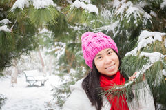 Girl in snowing winter Royalty Free Stock Photography