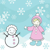Girl  and snowman. Vector illustration of a little girl with snowman Royalty Free Stock Photography