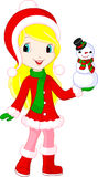 Girl and snowman Stock Image