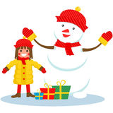 Girl and snowman , Christmas. In  format eps10 Vector Illustration