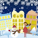 Girl and snowman in the city. Girl and snowman in the winter city, background. vector Royalty Free Stock Image