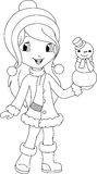 Girl and snowman coloring page Royalty Free Stock Image
