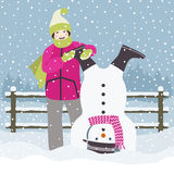 Girl and snowman down Royalty Free Stock Photos