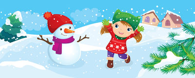 Girl With Snowman Enjoy Snow Stock Image