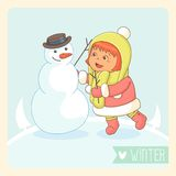 Girl and Snowman Stock Images