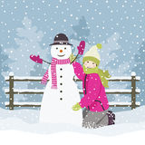 Girl and snowman Royalty Free Stock Photos