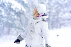 Girl in snowy forest Stock Photos