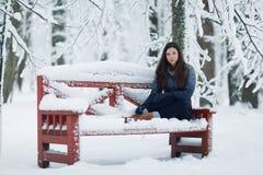 Girl in snowy park Stock Image