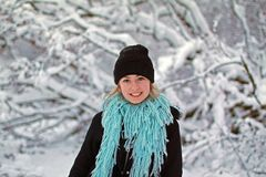 Girl in snowy scene Royalty Free Stock Images