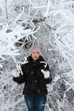 Girl in a snowy tree. Girl in winter forest in a snowy tree Stock Image