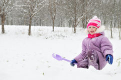 Girl at snowy winter outdoor Royalty Free Stock Photos