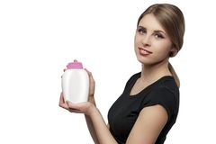 Girl with soap. Beautiful girl with bottle of soap isolated on white Stock Photo