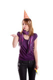 Girl with soap bubbles. Isolated on the white background stock photo