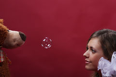 Girl with a soap bubbles Royalty Free Stock Image
