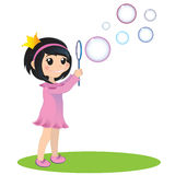 Girl with soap bubbles. EPS 10 illustration. Little princess blowing soap bubbles Royalty Free Stock Photos