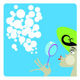 The girl and soap bubbles. In vector stock illustration