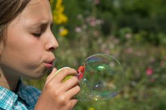 Girl  and soap bubbles 4. A girl in a plaid shirt is playing with soap bubbles. The girl`s eyes are closed. Behind the girl are green grass and yellow flowers Stock Image