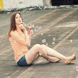 Girl with soap bubbles Royalty Free Stock Photo