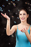 Girl and soap bubbles Royalty Free Stock Photo