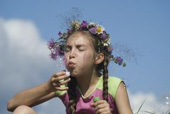 Girl with  soap bubbles V. Girl blowing  soap bubbles on green meadow Royalty Free Stock Photography