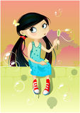 Girl with soap bubbles. Vector illustration of a girl with soap bubbles Royalty Free Stock Photography