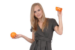 Girl with soap and orange Stock Image