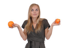 Girl with soap and orange Stock Photography