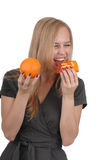 Girl with soap and orange. Girl with handmade soap and orange Royalty Free Stock Images