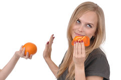 Girl with soap and orange Royalty Free Stock Images