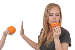 Girl with soap and orange Royalty Free Stock Image