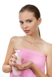 Girl with soap Royalty Free Stock Photo