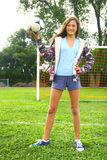 Girl with soccer ball Royalty Free Stock Photo