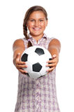 Girl with soccer ball Stock Image