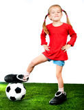 Girl with soccer ball in boots Royalty Free Stock Photos
