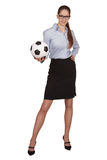 Girl with a soccer Ball in hand Royalty Free Stock Photography