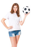 Girl with a soccer ball. Isolated on white background Stock Photo